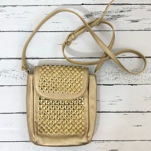 Co-lab Gold Crossbody Bag with Gold Studs